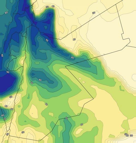 الخارطة توضح وصول نسبة الرطوبة لما يقارب 90٪  خلال ساعات الليل