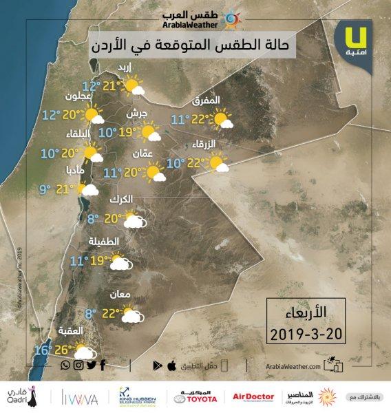 حالة الطقس ودرجات الحرارة المتوقعة في محافظات المملكة يوم الأربعاء 20-3-2019