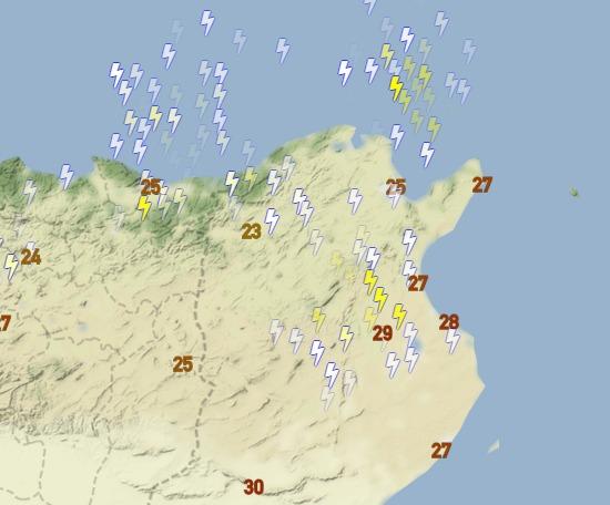عواصف رعدية قوية في تونس