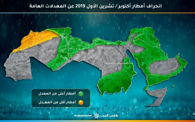النشرة الجوية الشهرية للجزيرة العربية بما فيها السعودية