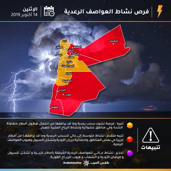 فرص نشاط العواصف الرعدية يوم الإثنين