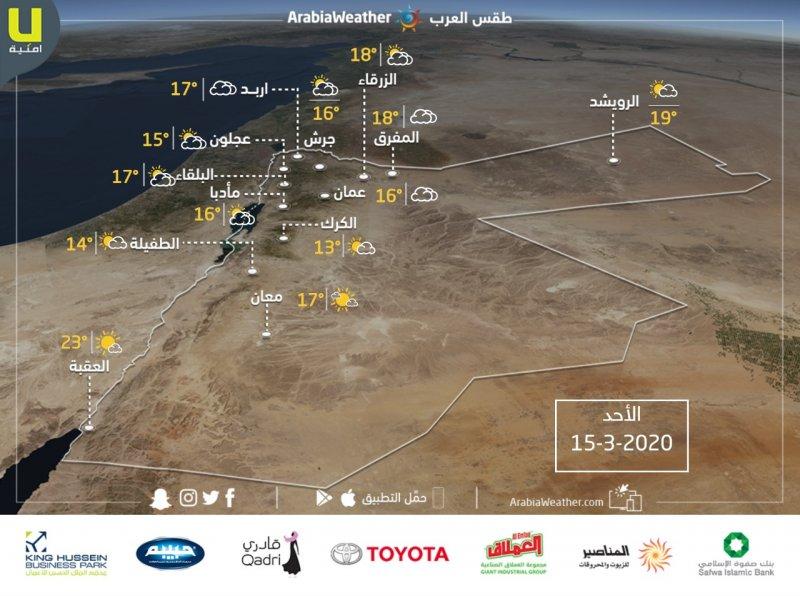 حالة الطقس ودرجات الحرارة المتوقعة  في الأردن ليوم الأحد 15/3/2020