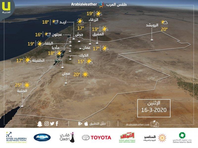 حالة الطقس ودرجات الحرارة في الأردن يوم الأثنين 2020-3-16