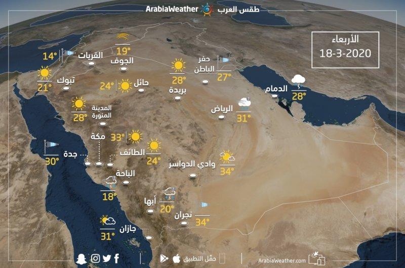 حالة الطقس ودرجات الحرارة ا المتوقعة في السعودية يوم الأربعاء 2020/3/18