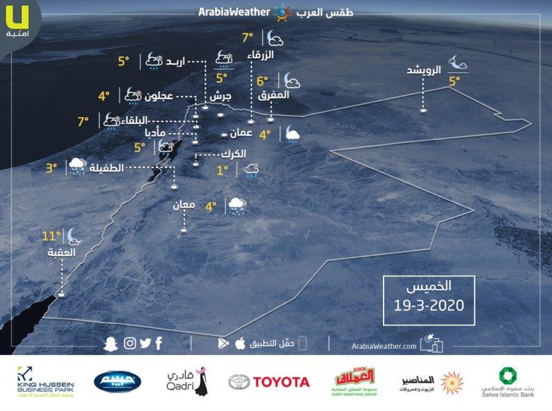 حالة الطقس ودرجات الحرارة المتوقعة في الأردن ليوم الخميس 19/3/2020