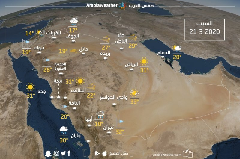 السعودية   حالة الطقس ودرجات الحرارة المتوقعة يوم السبت  2020/3/21