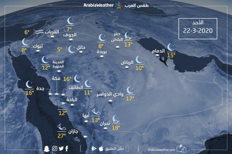حالة الطقس ودرجات الحرارة المتوقعة في السعودية يوم الأحد 2020/3/22