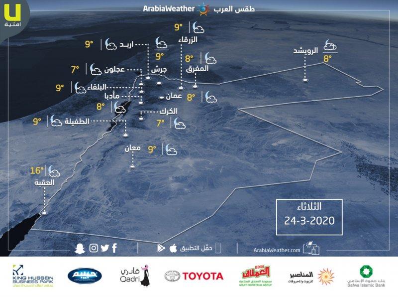 حالة الطقس ودرجات الحرارة العظمى والصغرى المتوقعة في الأردن ليوم الثلاثاء 24/3/2020