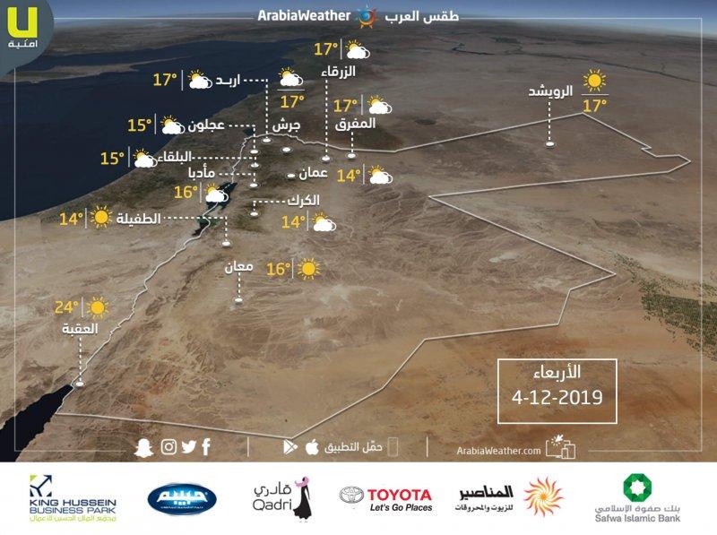 الأردن | حالة الطقس ودرجات الحرارة العظمى والصغرى المتوقعة يوم الأربعاء 4/12/2019