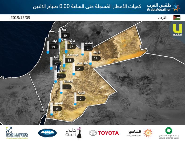 كميات الأمطار المسجلة بحسب محطات طقس العرب خلال 24 ساعة الماضية