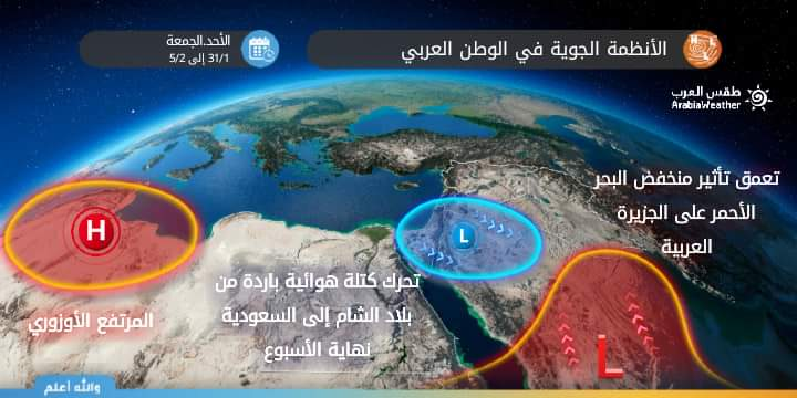 A map showing the expected air systems over the Arab world this week